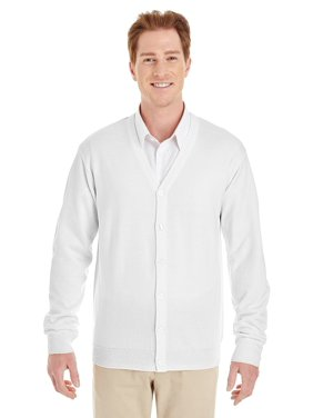 The Harriton Mens Pilbloc V-Neck Button Cardigan Sweater - WHITE - 6XL