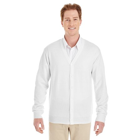 Mens V-neck Silk Sweater - Branded Harriton Mens Pilbloc V-Neck Button Cardigan Sweater - WHITE - 6XL (Instant Saving 5% & more on min 2)