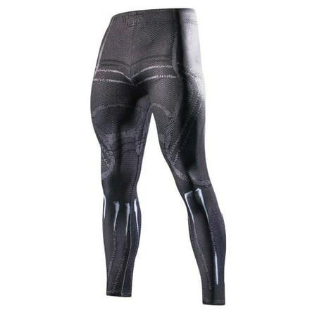 Marvel Comics Black Panther Design Men's Crossfit Polyester/Spandex Leggings Size L