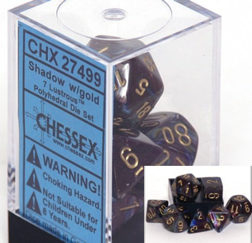 Chessex Polyhedral 7-Die Lustrous Dice Set - Shadow with Gold Numbers #27499