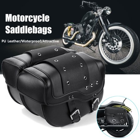 Motorcycle PU Leather Luggage Saddle Bags Black For Harley Sportster XL883 1200