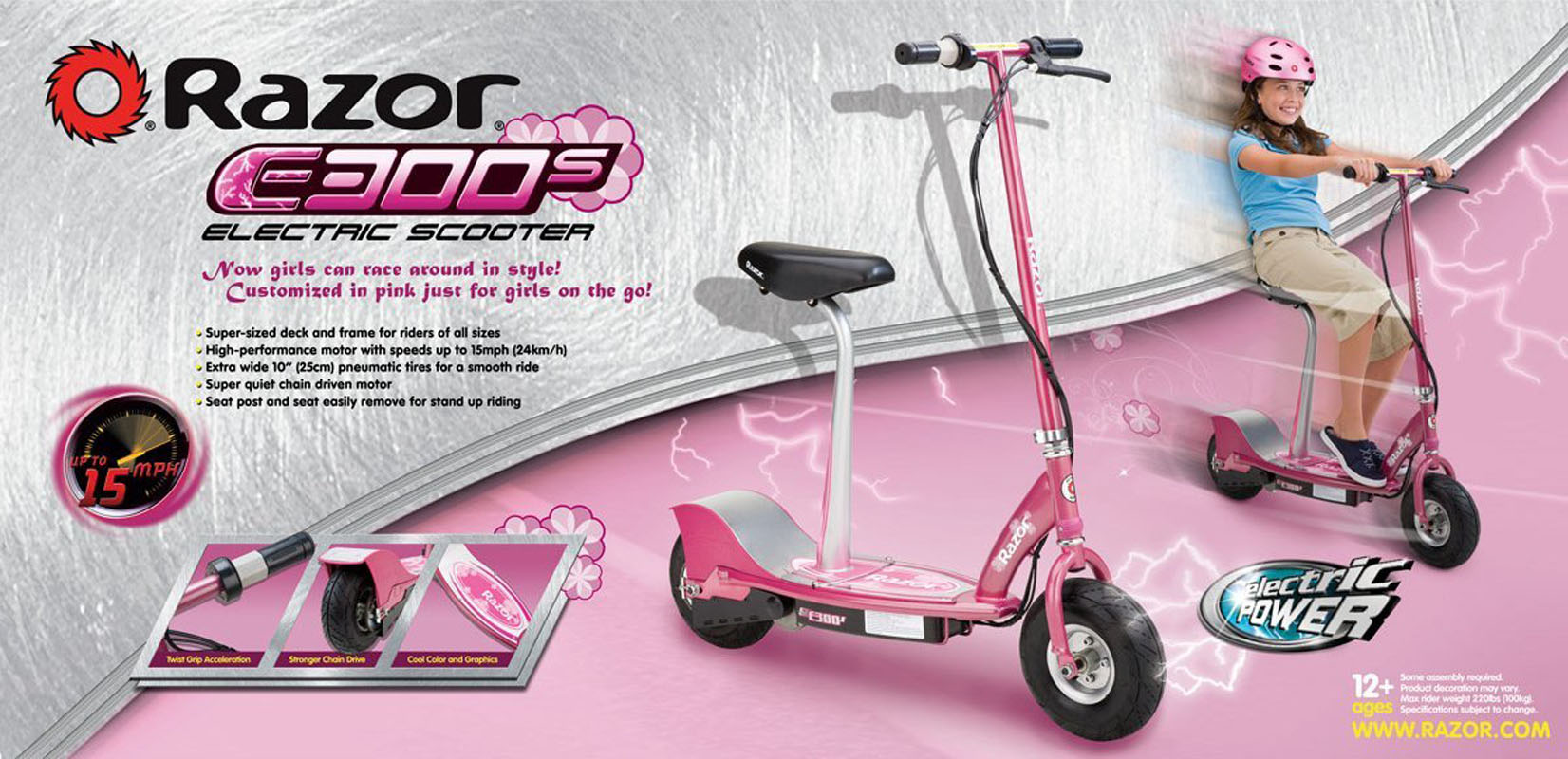 Razor E300S 15 MPH Seated or Stand Girls Electric Scooter, Pink (Sweet Pea) - Walmart.com