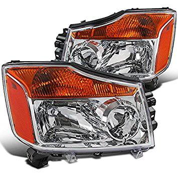 Spec-D Tuning 2LH-TIT08-RS Nissan Titan Pickup Armada Amber Chrome Diamond Headlights Pair