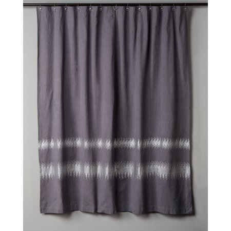 Rizzy Home Foil Printed Cotton Shower Curtain 72X72 In Charcoal Color