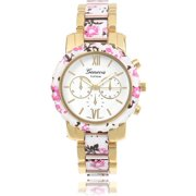 Women's Floral Link Fashion Watch