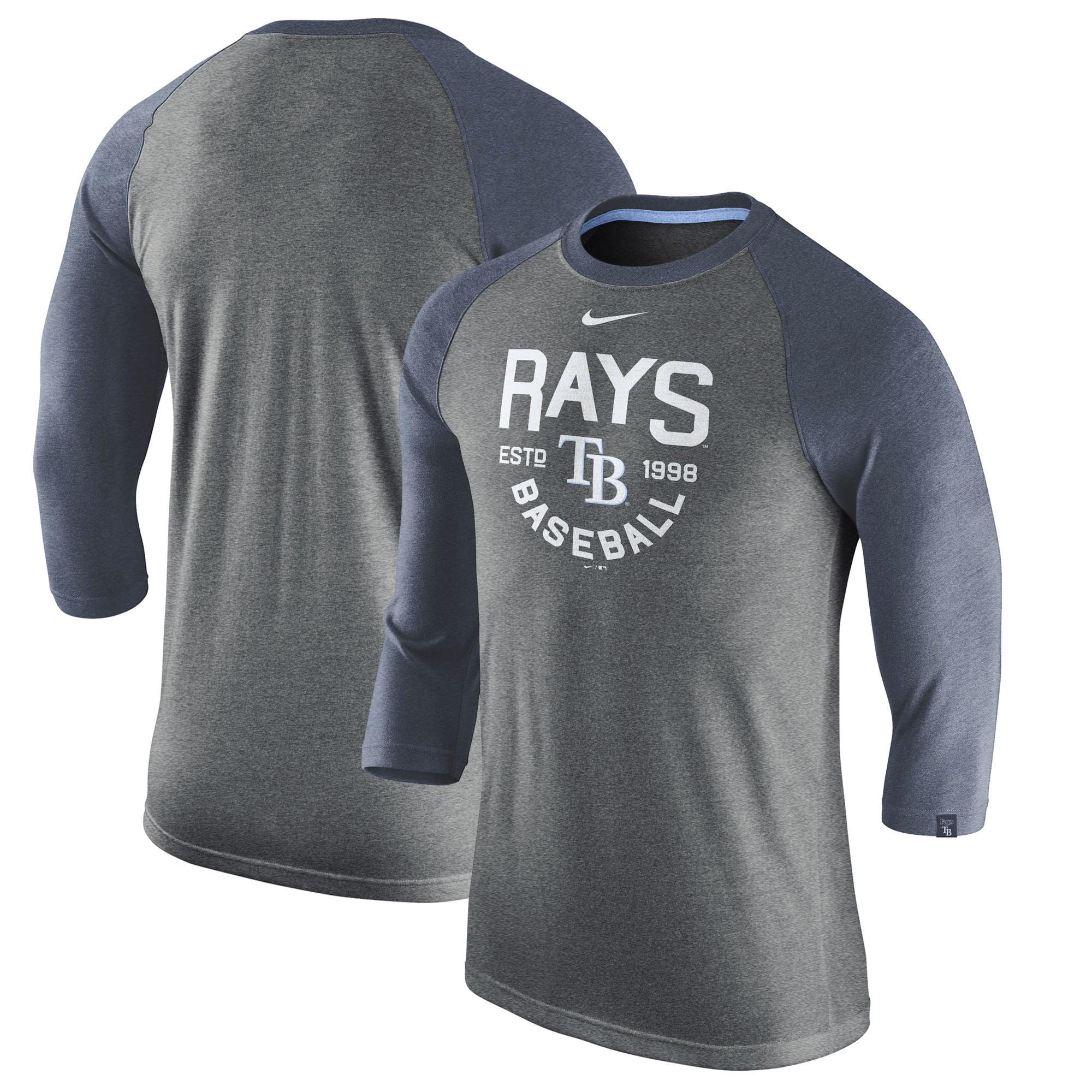 Tampa Bay Rays Nike Tri-Blend 3/4-Sleeve Raglan T-Shirt - Heathered Charcoal
