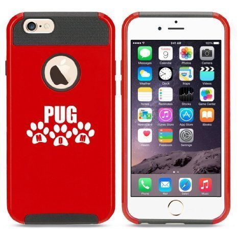 Apple iPhone 6 6s Hybrid Shockproof Impact Hard Cover / Soft Silicone Rubber Inside Case Pug Mom (Red),MIP