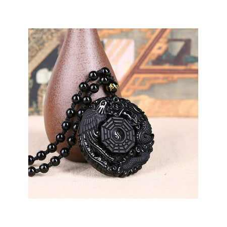 Lucky Pendant Necklace Natural Obsidian Carved Chinese Dragon Phoenix BaGua