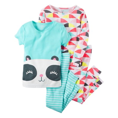 Girls' 4 Piece Panda Bear PJ Set