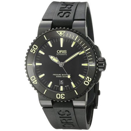 oris men 39 s 43mm black rubber band steel case anti reflective sapphire automatic analog watch