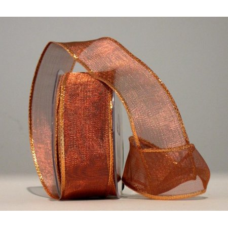 (Ribbon Bazaar Wired Woven Shimmer Edge Metallic Sheer 1-1/2 inch Copper 25 yards Ribbon)
