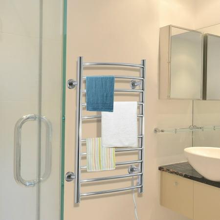 Homcom 10 Bar Curved Stainless Steel Wall Mounted Towel Warmer Rack