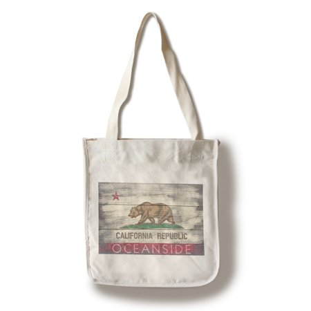Oceanside, California - Rustic California State Flag - Lantern Press Artwork (100% Cotton Tote Bag - Reusable)