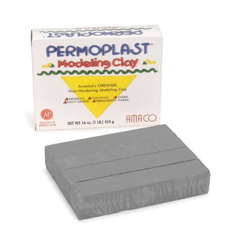 Permoplast Modeling Clay: Gray, Never Dries