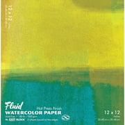 Global Art Fluid Watercolor Paper Block, Hot-Press, 12in x 12in 15 Sheets/Pad,