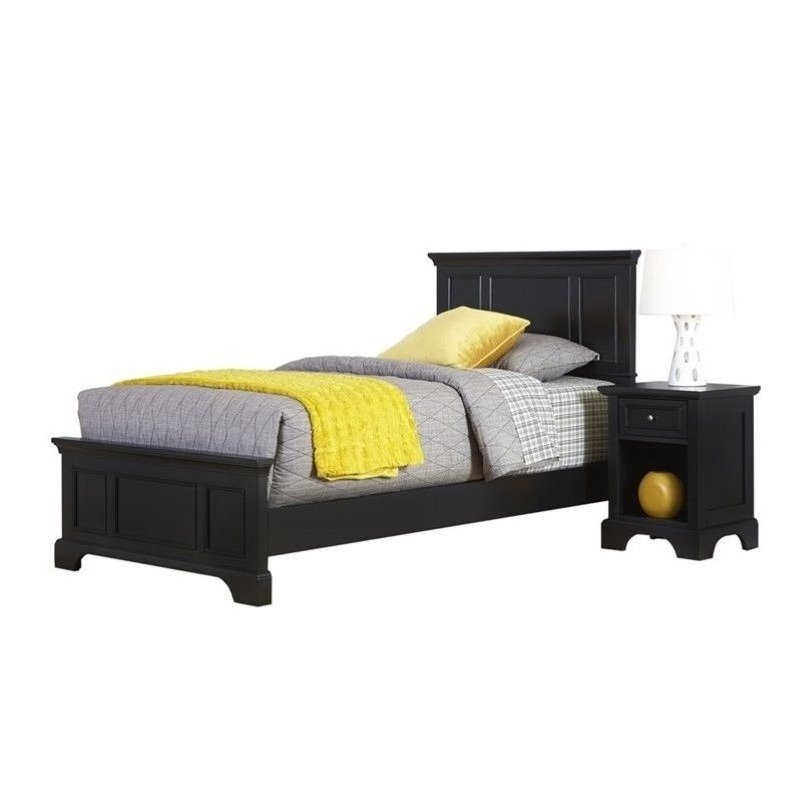 Hawthorne Collections 2 Piece Twin Panel Bedroom Set in Black