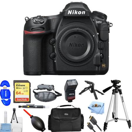 Nikon D850 DSLR Camera (Body Only) PRO BUNDLE with 64GB SD, Flash, Gadget Bag, Tripods, HDMI Cable and More