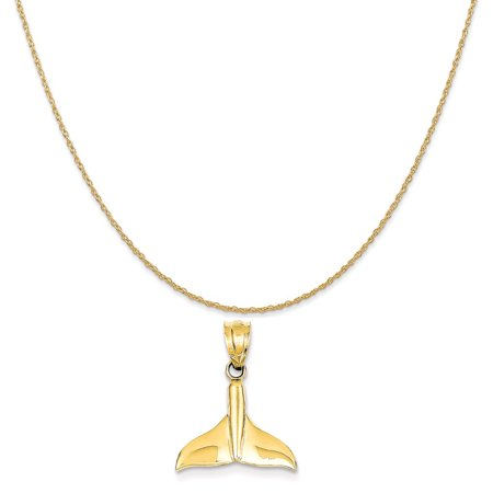 14k Yellow Gold Solid Polished Open-Backed Whale Tail Pendant on 14K Yellow Gold Rope Necklace,