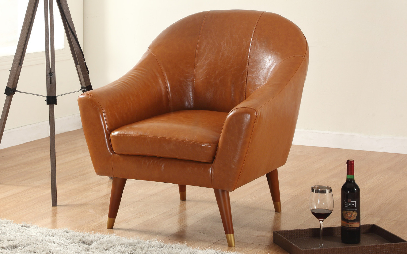 Mid century modern bonded leather living room accent chair walmart com