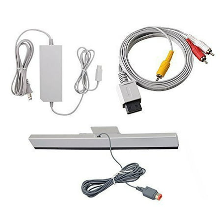 Wii Mini Cables Set AV Audio Video Cable Wired Sensor Bar Wall Power AC Charger Adapter