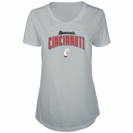 Women's Russell Heathered Gray Cincinnati Bearcats Tunic Cap Sleeve V-Neck T-Shirt