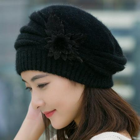 35685cc79c2 Fashion Womens Flower Knit Crochet Beanie Hat Winter Warm Cap Beret -  Walmart.com