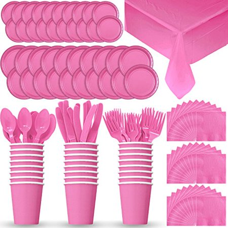 Disposable Paper Dinnerware for 24 - Hot Pink - 2 Size plates, Cups, Napkins , Cutlery (Spoons, Forks, Knives), and tablecovers - Full Party Supply Pack
