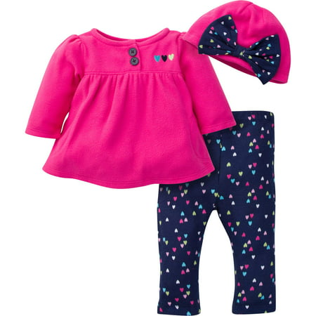 Button-up Jacket, Pant & Hat 3pc Outfit Set (Baby Girl)