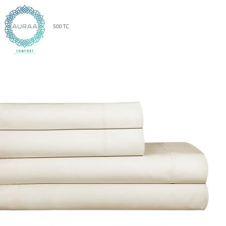 Auraa Comfort 500 TC 100% Pima Cotton 4 Pc King Sheet Set