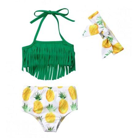 Styles I Love Infant Baby Girls Pineapple Fringe Bikini Swimsuit with Headband Bathing Suit Beach Pool Water Game Swimwear 3pcs Set (90/12-18