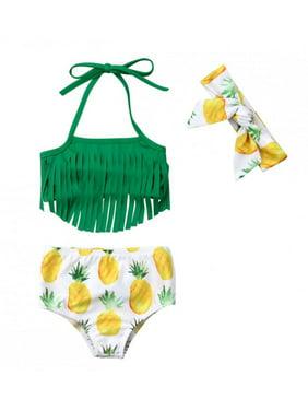 Styles I Love Infant Baby Girls Pineapple Fringe Bikini Swimsuit with Headband Bathing Suit Beach Pool Water Game Swimwear 3pcs Set (90/12-18 Months)
