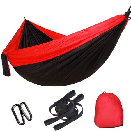 Elegantoss Camping Hammock Double Parachute Portable Including 2 Straps with Loops & Carbines– Best Heavy Duty Lightweight Nylon Parachute Hammock For Camping,Travel,Beach