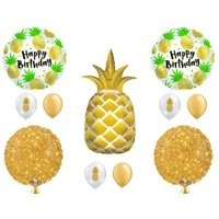 Gold Pineapple Happy Birthday Party Balloons Decoration Luau Tropical Beach