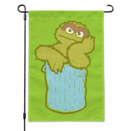 Image of Sesame Street Oscar the Grouch Distressed Garden Yard Flag