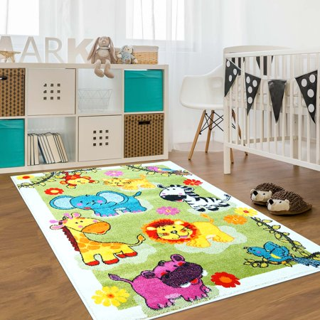 Ladole Rugs Adorable Cute Durable Soft Modern Moda Collection Kids Area Rug Carpet with Animals Green, (Green Modern Rug Collection)