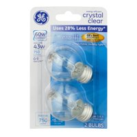 GE Decorative Halogen Bulbs 60 W Crystal Clear, 2.0 CT