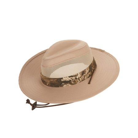Tan Safari Hat With Mesh Inserts and Realtree Max-1 XT Camo Band, Small/Medium