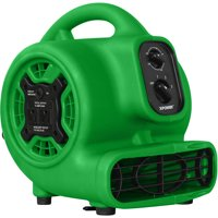 XPOWER P-230AT 1/5 HP Multi-Purpose Mini Mighty Air Mover, Utility Fan, Dryer, Blower with Build-in Power Outlets and Timer - Green