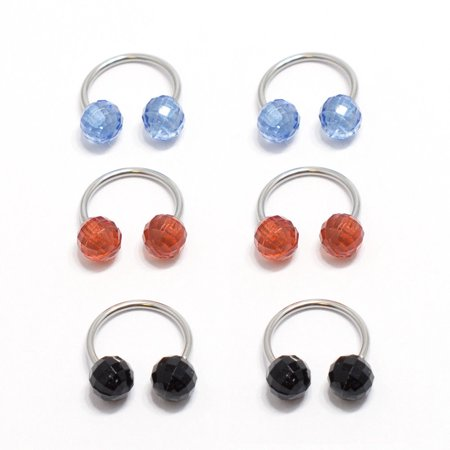 6pc Multi-functional Lip/Nose/Nipple/Eyebrown Captive Hoop Ring Barbell Tragus Cartilage Stud Earrings Horseshoe with Disco Balls 18G Surgical Steel