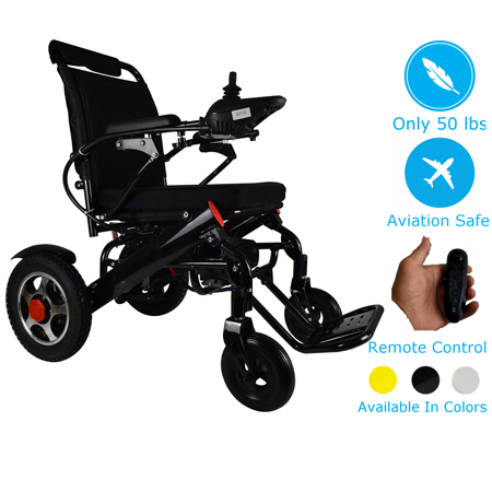 Foldable Electric Wheelchair with Remote Control, Medical Mobility Aid Scooter, Heavy Duty Power Wheelchair, Lightweight Electric