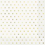 Foil Elegant Gold Polka Dot Paper Luncheon Napkins, 6.5 in, 16ct