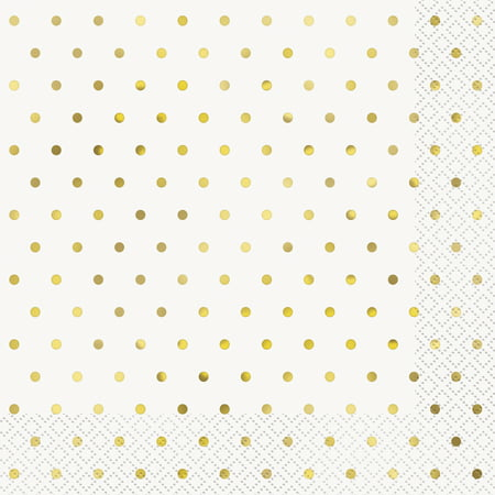 Foil Elegant Gold Polka Dot Paper Luncheon Napkins, 6.5 in, 16ct ()