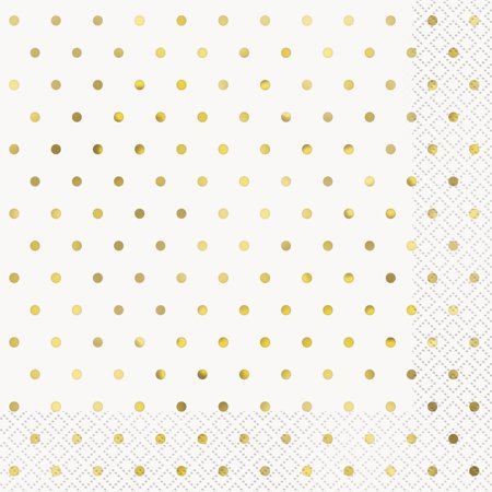 Foil Elegant Gold Polka Dot Paper Luncheon Napkins, 6.5 in, 16ct (Gingham Paper Napkins)