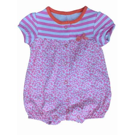 217196c3251e Little Wonders - Infant Girls Pink Flowers   Stripes Romper Baby ...