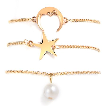 iLH Mallroom Simple Hand Chain 3 Pieces Of Star Moon Pearl Pendant Chain Suit (Zoot Suit Chain)