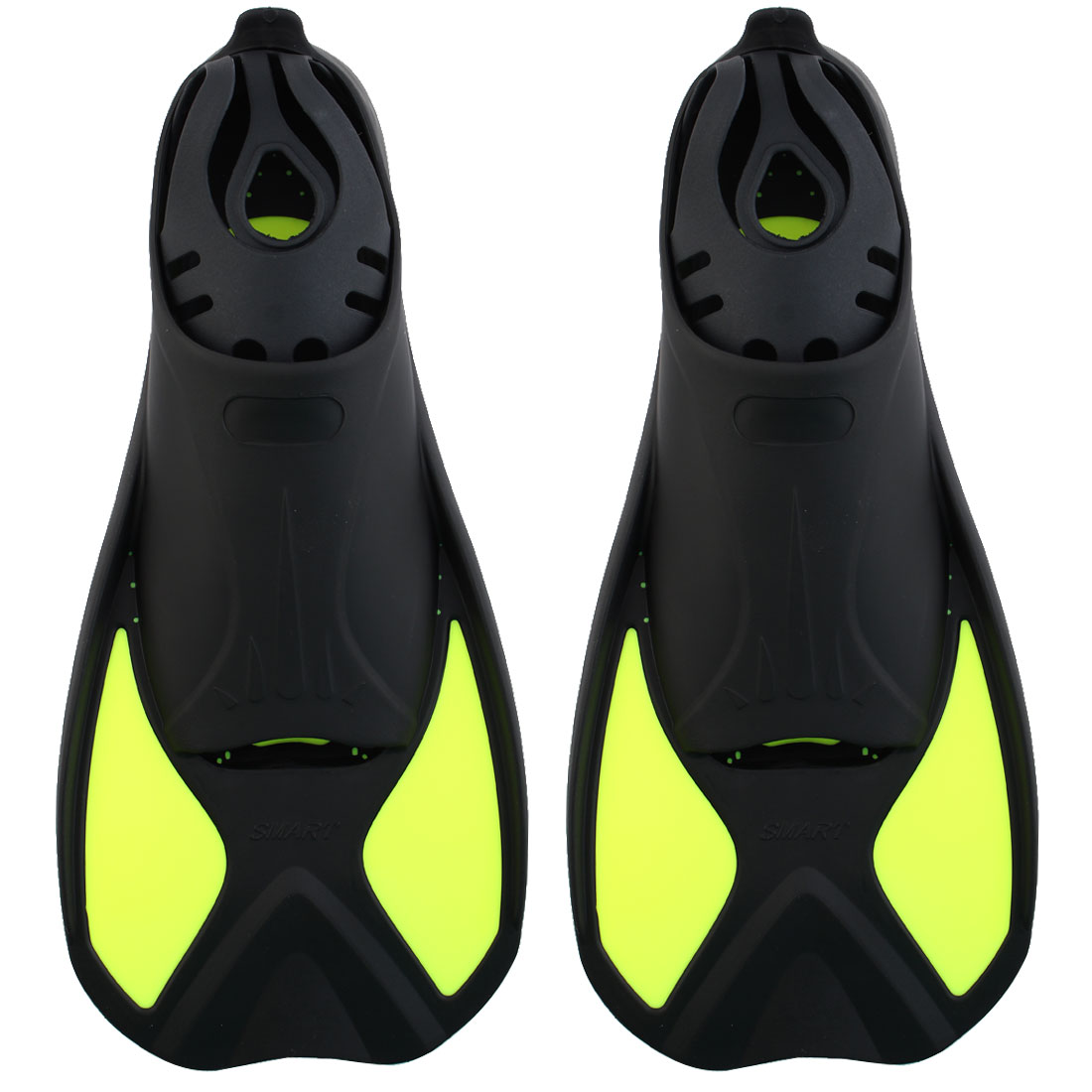 Swimming Training Floating Short Fins Flippers Fluorescence Green Size XXS Pair