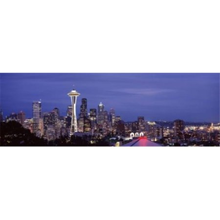 Skyscrapers in a city lit up at night  Space Needle  Seattle  King County  Washington State  USA 2010 Poster Print by  - 36 x 12 - image 1 de 1