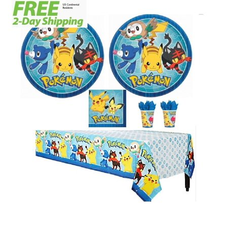 Pokemon Pikachu & Friends Birthday Party Tableware Pack for 16 - Shipped Fedex Express