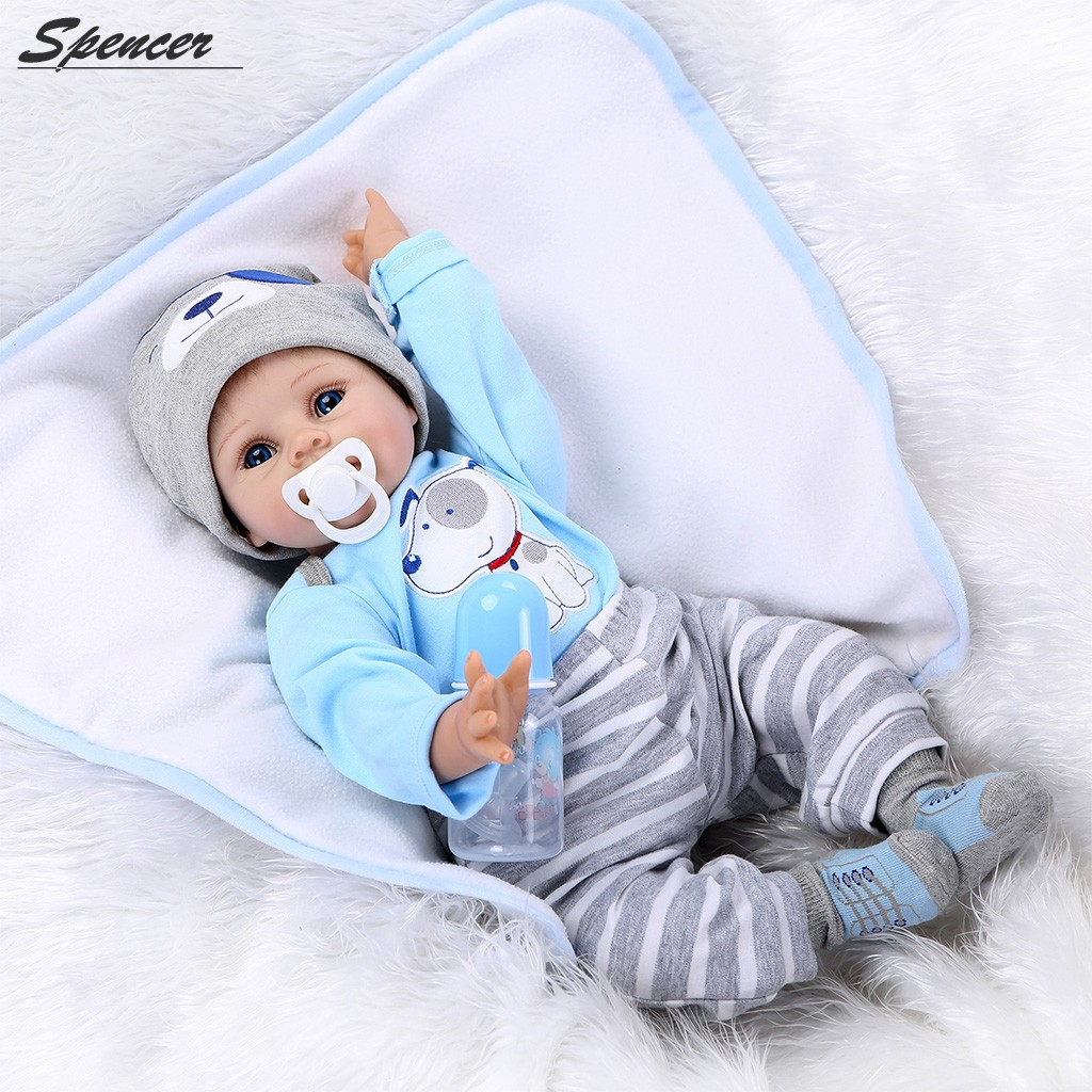 "Spencer Simulation 22"" Reborn Baby Doll Soft Silicone Vinyl Lifelike Baby Boy with Bottle & Magnetic... by SpencerToys"