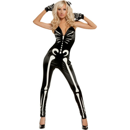 Skeleton Sassy Glow-in-the-Dark Adult Halloween Costume](Cute Skeleton Halloween Costumes)